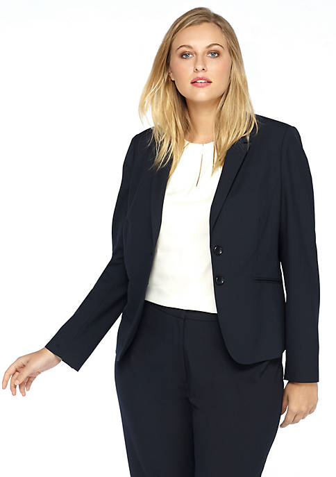 Plus Size Two Button Blazer in Modern Stretch