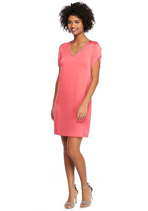 Tulip Sleeve V-Neck Dress