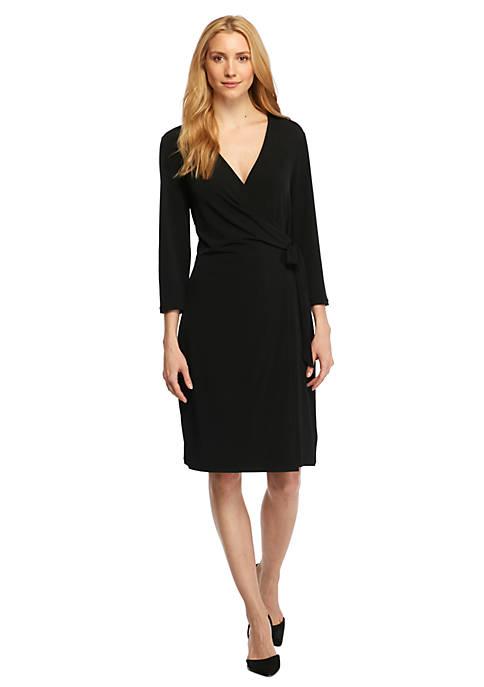 Collarless Wrap Dress