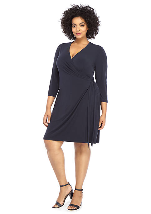 Plus Size Elbow Sleeve Wrap Dress