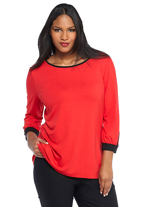 Plus Size Banded Sleeve Knit Top