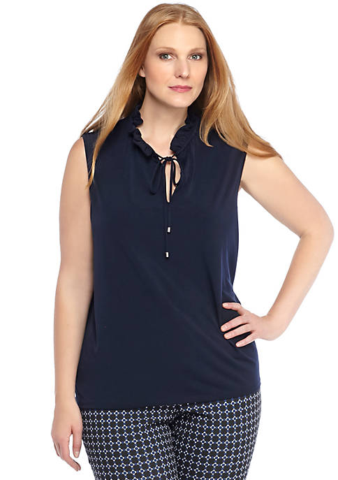 Plus Size Tie Neck Sleeveless Top