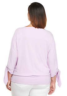 Plus Size Tie Sleeve Banded Top
