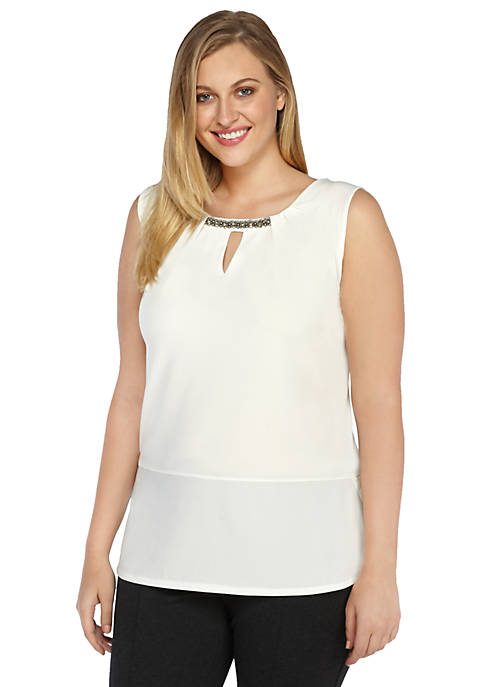 Plus Size Embellished Sleeveless Knit Top