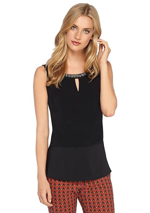 Embellished Sleeveless Knit Top