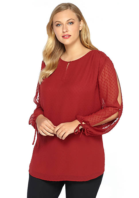 Plus Size Slit Sleeve Blouse