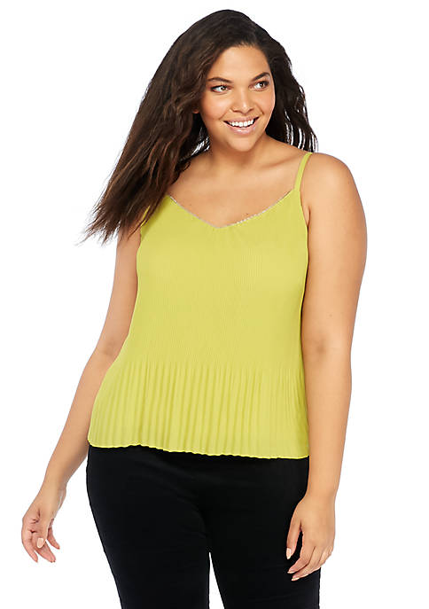 Plus Size Sleeveless Pleated Tank