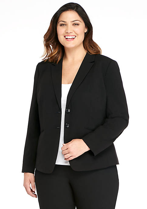 Plus Size Two-Button Blazer in Modern Stretch