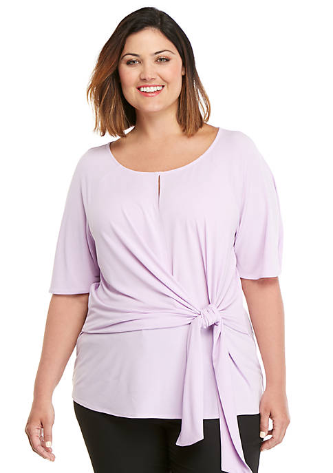Plus Size ITY Side Tie Top