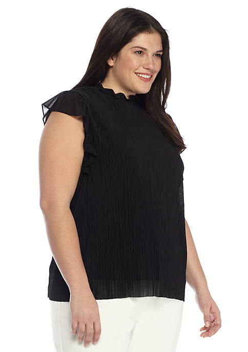 Plus Size Whimsical Pleated Top