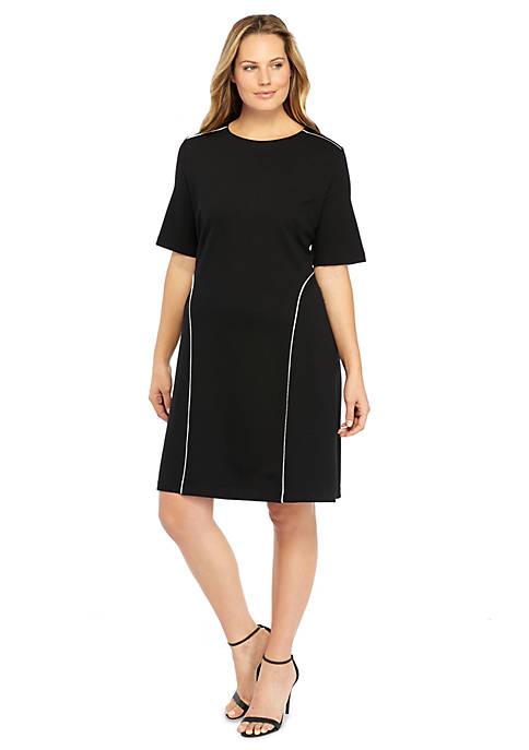 Plus Size Piped High Low Hem Dress