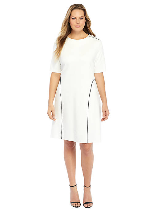 Plus Size Piped High Low Hem Dress