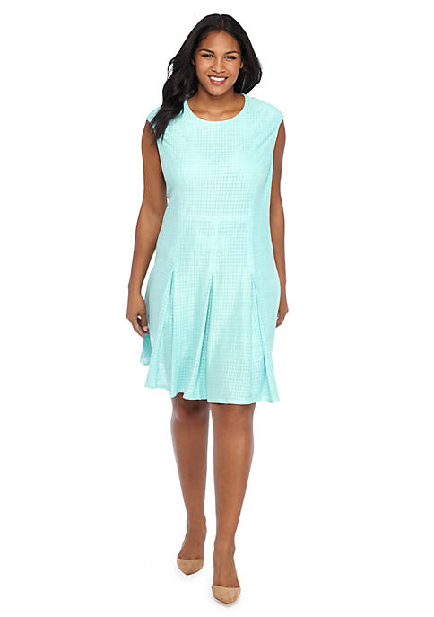 Plus Size Perforated Faux Suede Dress