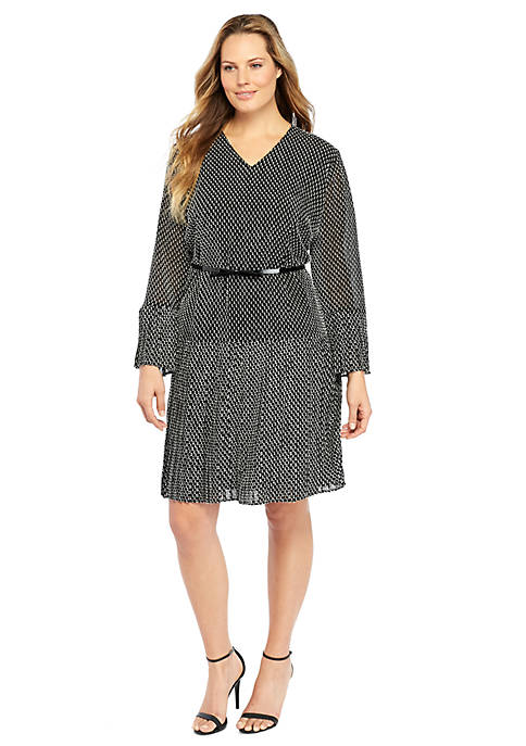 Plus Size Pleat Belted Dress The Limited