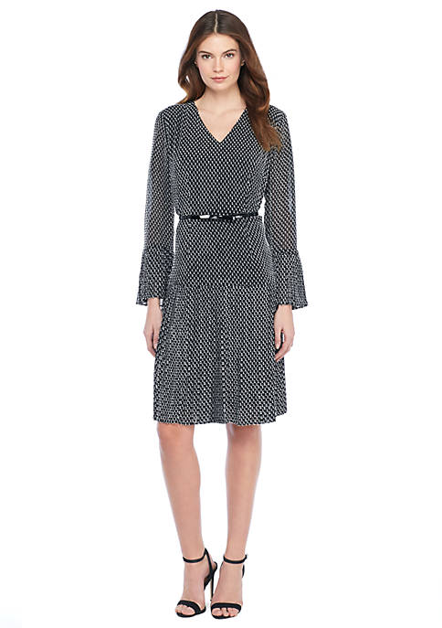 Petite Pleat Belted Dress