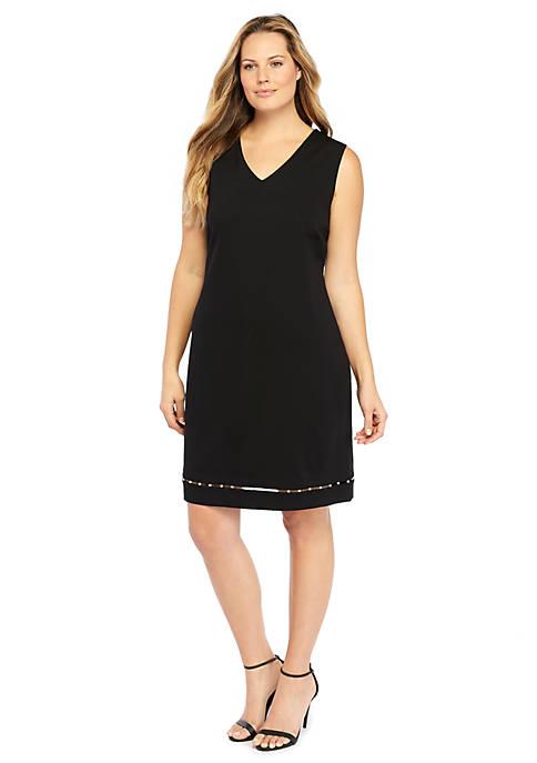 Plus Size Sheath Ponte Pearl Trim Dress