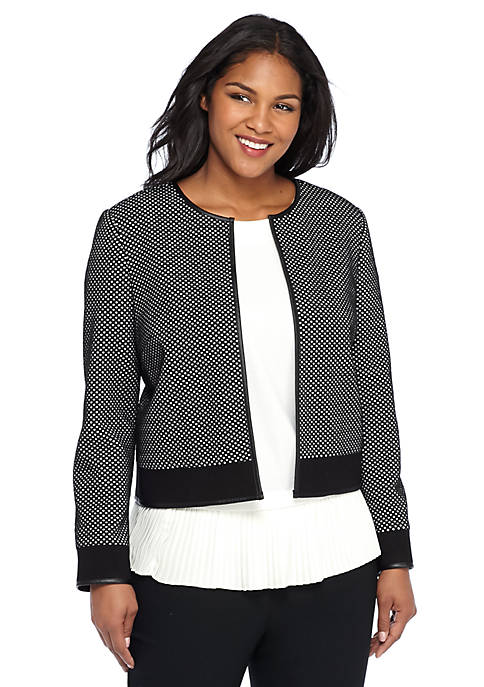 Plus Size Polka Dot Textured Jacket