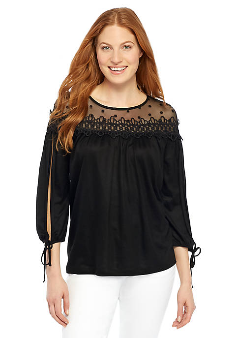 Dot Lace Tie Sleeve Top