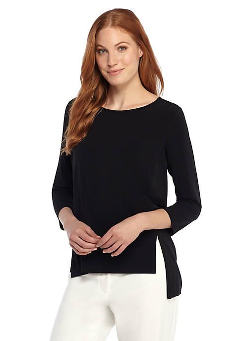 3/4 Sleeve Knit Pleat Top