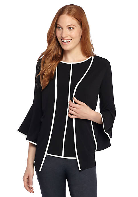 Piped Bell Sleeve Cardigan