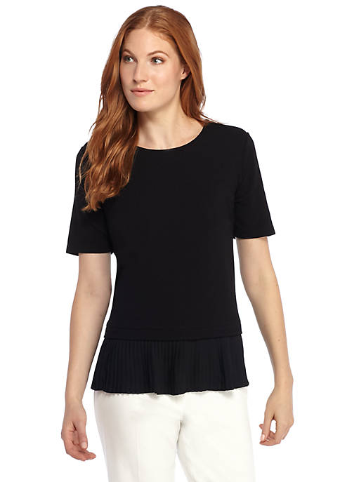Elbow Sleeve Pleated Hem Top