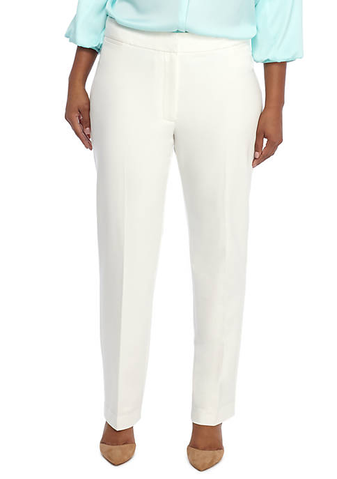 Plus Size Signature Straight Pant in Two Way Spandex Twill