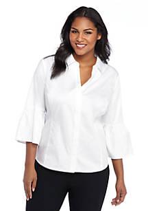 e3ddc0610d1 Plus Size Lace Trim Poplin Shirt