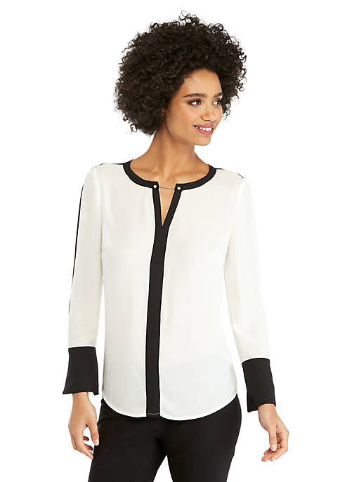 Contrast Bell Sleeve Blouse With Metal Trim