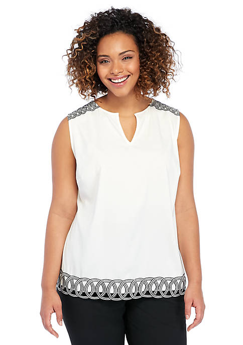 Plus Size Sleeveless Trim Shell Top