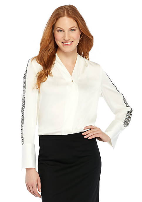 Trimmed Bell Cuff Blouse