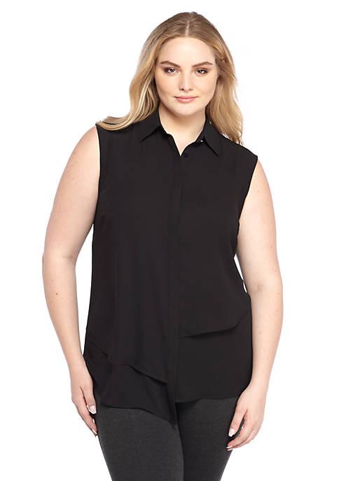 Plus Size Sleeveless Asymmetric Hem Tunic