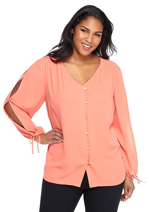 Plus Size Open Sleeve V-Neck Blouse
