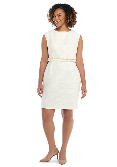 Plus Size Stretch Tweed Fringe Sheath Dress