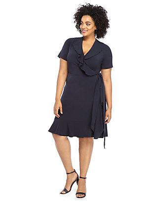 f0652bf2a00 Plus Size Ruffle Wrap Dress