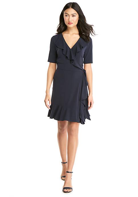 Petite Shortened Ruffle Front Dress