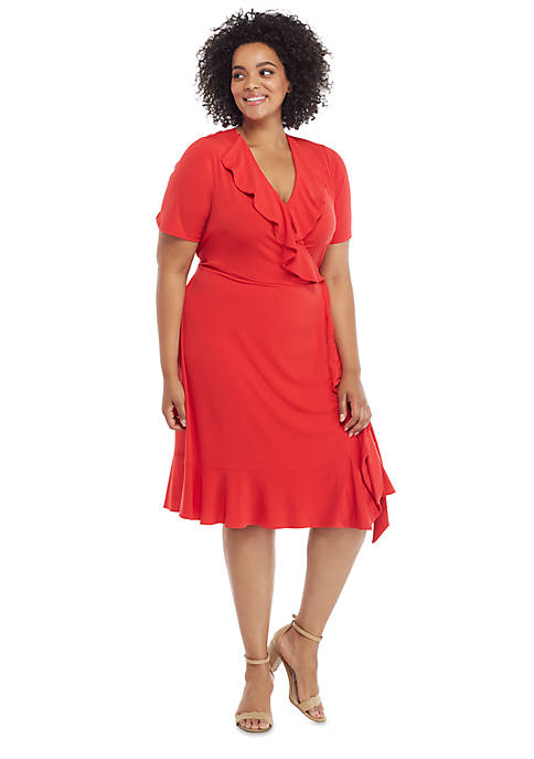 Plus Size Ruffle Surplice Dress with Tie