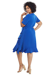 Plus Size Ruffle Surplice Dress with Tie
