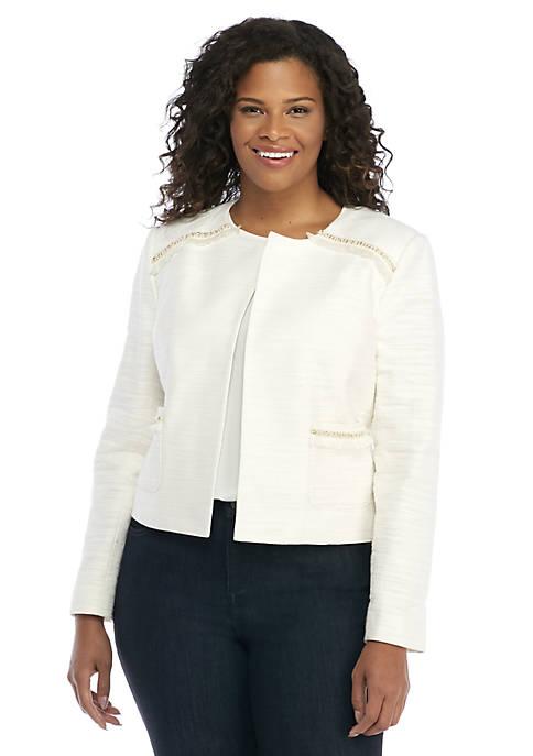 Plus Size Stretch Tweed Fringe Jacket