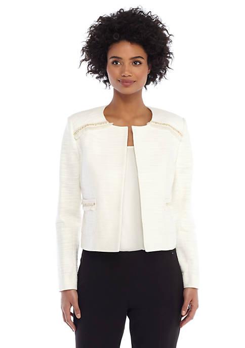 Stretch Tweed Fringe Jacket