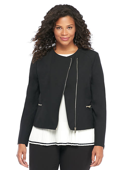 Plus Size Asymmetrical Zip Moto Jacket