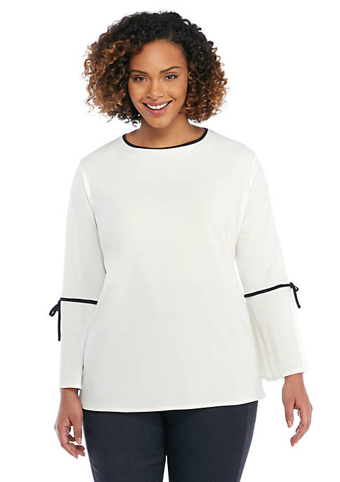 Plus Size Contrast Tie Bell Sleeve Blouse