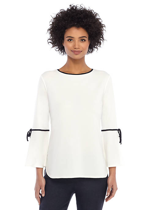 Contrast Tie Bell Sleeve Blouse