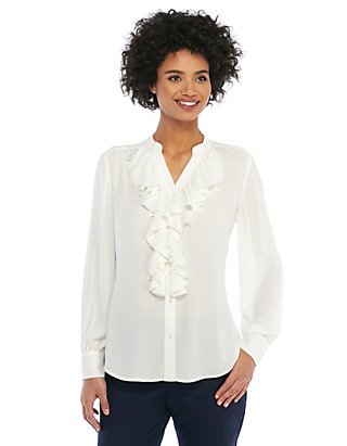 48dfd2e4966b1b Lace Crepe Ruffle Front Blouse | THE LIMITED