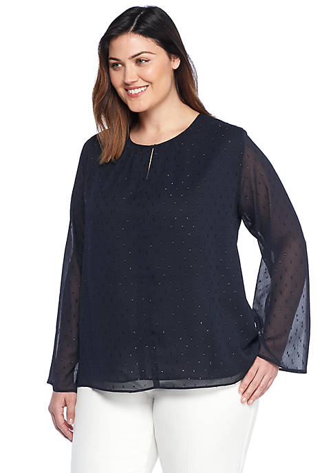 Plus Size Bell Sleeve Clip Dot Blouse