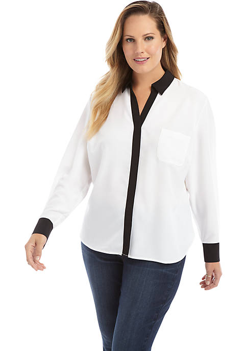 Plus Size Solid Pocket Blouse