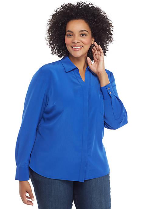 Plus Size Solid Pocket Blouse