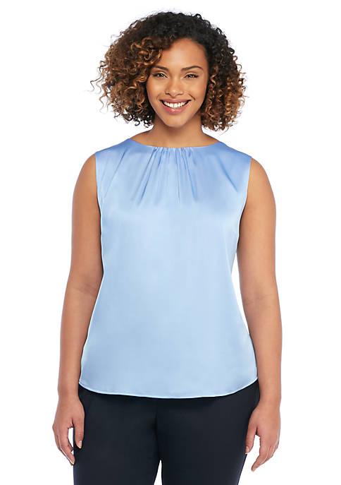 Plus Size Sleeveless Back Tie Shell