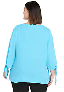Plus Size Tie Sleeve V-Neck Blouse