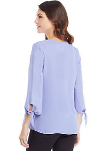 Solid Tie Sleeve V-Neck Blouse