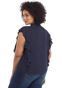 Plus Size Flutter Sleeve Side Front V Neck Blouse